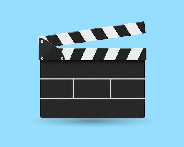 Vista frontale del cracker di film isolata sull'azzurro. Vettore Premium