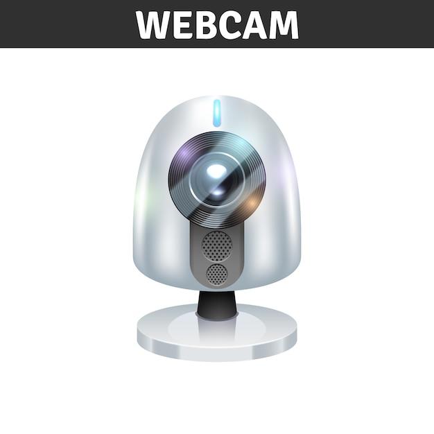 Vista frontale della webcam bianca per computer e laptop Vettore gratuito