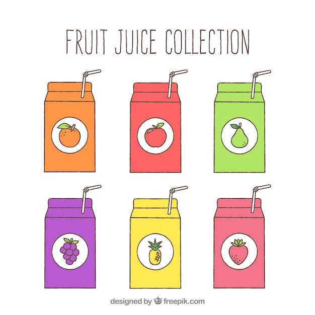 Vista frontale di sei contenitori di succo di frutta Vettore gratuito
