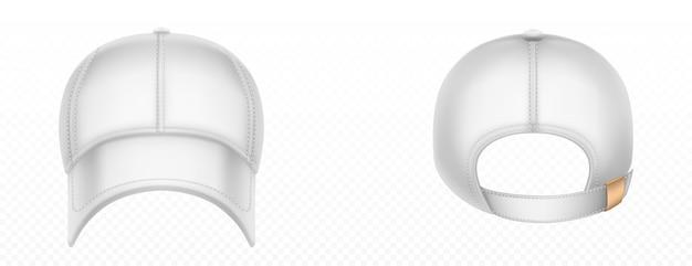 Vista frontale e posteriore del berretto da baseball. modello realistico di vettore del cappello bianco in bianco con punti, visiera e scatto sul picco. cappuccio uniforme sportivo per protezione testa di sole isolata Vettore gratuito