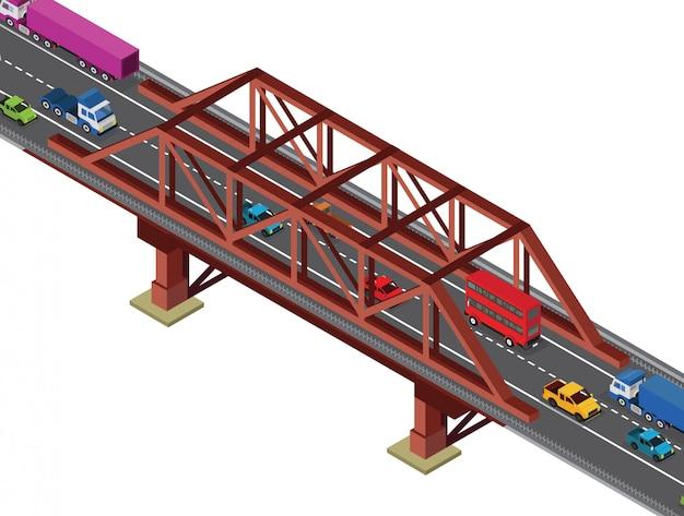 Vista isometrica del piccolo ponte Vettore Premium