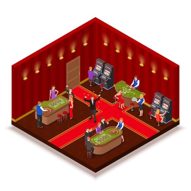Vista isometrica della stanza del casinò con l'illustrazione dei giocatori dei giochi da tavolo delle black jack della sezione della mazza lavorata scanalatura Vettore gratuito