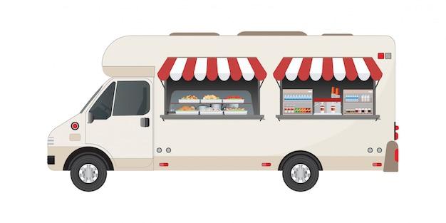Vista laterale del camion di cibo con cibi e bevande. Vettore Premium