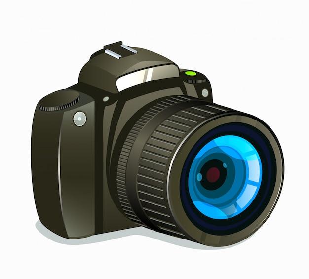 Vista laterale dell'icona della macchina fotografica della foto su fondo bianco Vettore Premium
