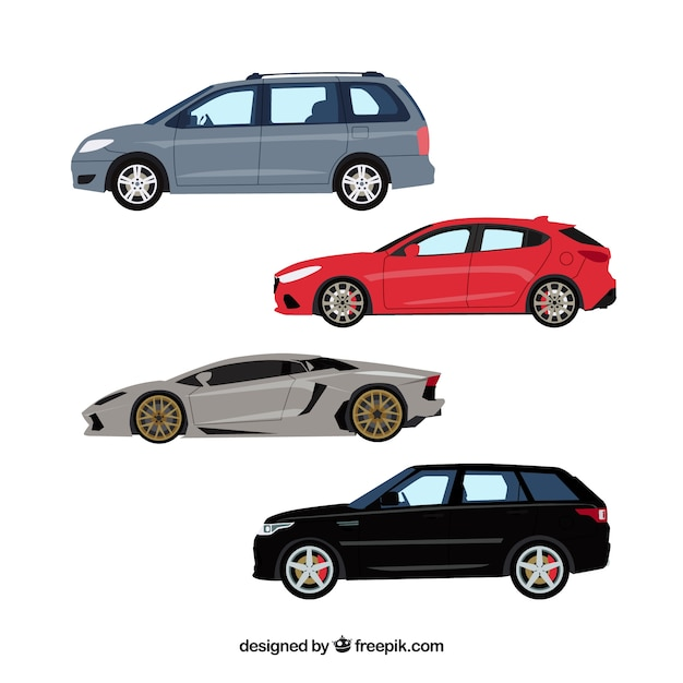 Vista laterale delle automobili moderne Vettore gratuito