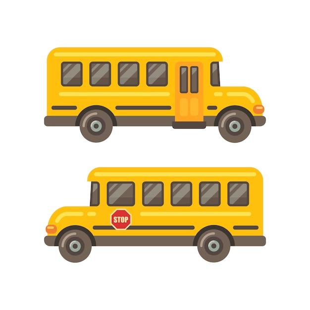Vista laterale dello scuolabus giallo Vettore Premium
