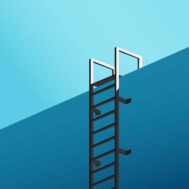 Vista minima dal fondo della piscina con scala e cielo blu in blackground in tono blu freddo Vettore Premium