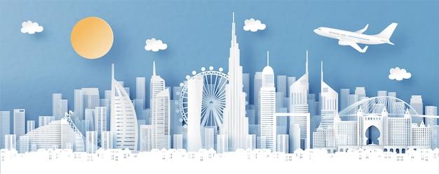 Vista panoramica di dubai e skyline della città con punti di riferimento di fama mondiale Vettore Premium