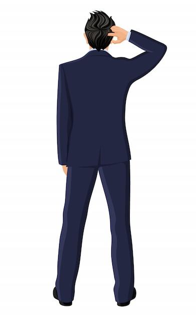 Vista posteriore dell'uomo d'affari Vettore Premium