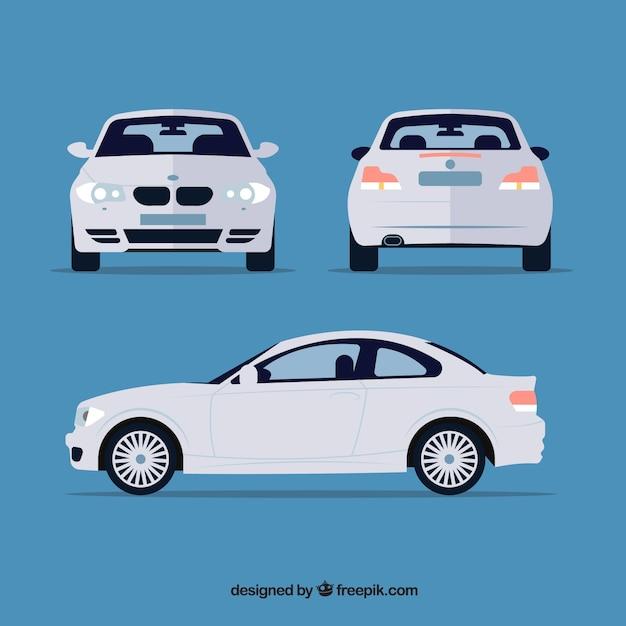 Viste diverse della macchina tedesca bianca Vettore gratuito