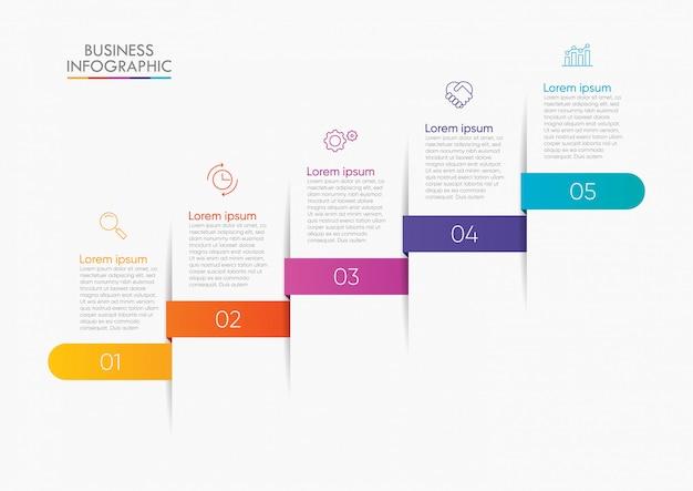 Visualizzazione dei dati aziendali. modello di infografica timeline Vettore Premium
