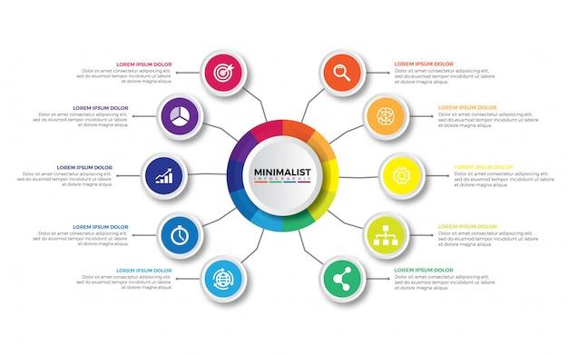 Visualizzazione dei dati aziendali. Vettore Premium