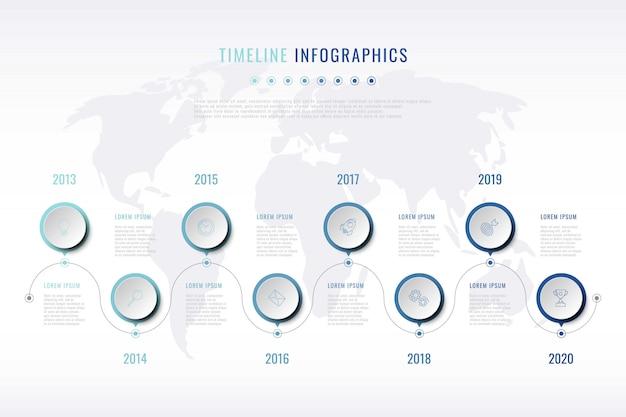 Visualizzazione della storia dell'azienda moderna con icone di marketing di linea sottile Vettore Premium