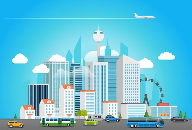 Vita di città moderna. paesaggio urbano con trasporto Vettore Premium