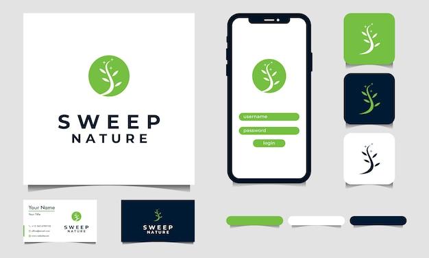 Vita semplice del vettore di progettazione di logo dell'albero con s iniziale Vettore Premium