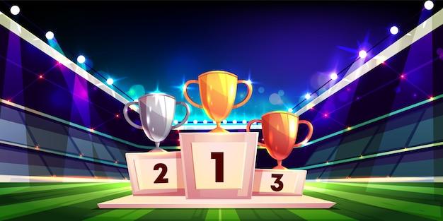 Vittoria nel concetto del fumetto di competizione sportiva con trofei coppa oro, argento e bronzo Vettore gratuito