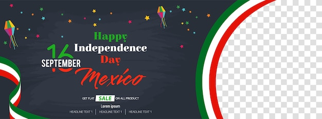 Viva mexico happy independence day banner di social media Vettore Premium