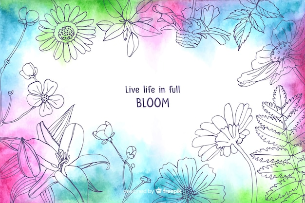Vivere la vita in piena fioritura sfondo floreale ad acquerello Vettore gratuito