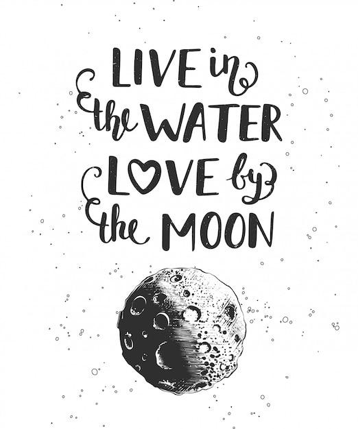 Vivere nell'acqua, l'amore sulla luna Vettore Premium