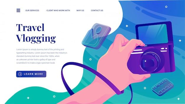 Vlogging di viaggio con la pagina di destinazione del sito web della videocamera con display capovolto Vettore Premium