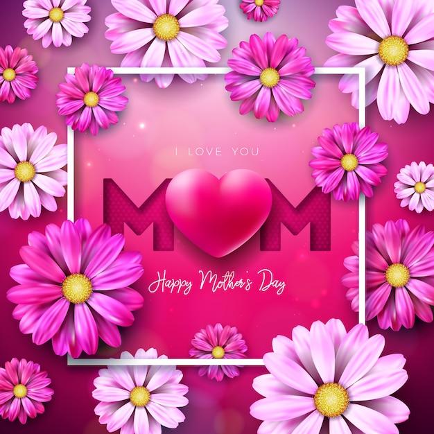 Voglio bene alla tua mamma. progettazione felice della cartolina d'auguri di festa della mamma con il fiore e cuore rosso su fondo rosa. modello di illustrazione di celebrazione per banner, flyer, invito, brochure, poster. Vettore gratuito