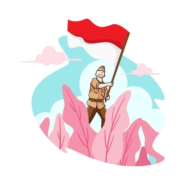 Vola la mia bandiera indonesia Vettore Premium