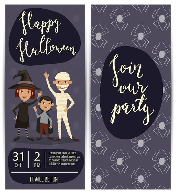 Volantini di festa di halloween con bambini in costumi Vettore Premium