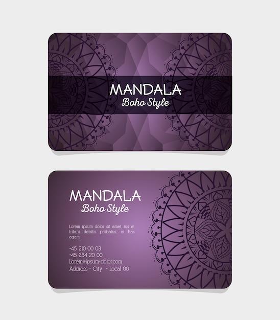 Volantini stile boho mandala Vettore Premium