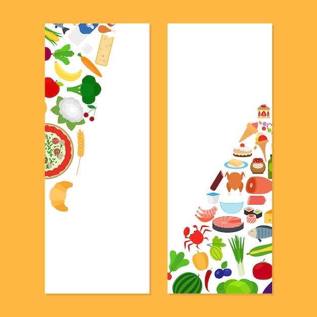 Volantini verticali con cibo Vettore Premium