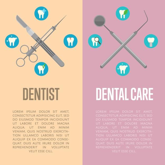 Volantini verticali per cure odontoiatriche e dentistiche Vettore Premium