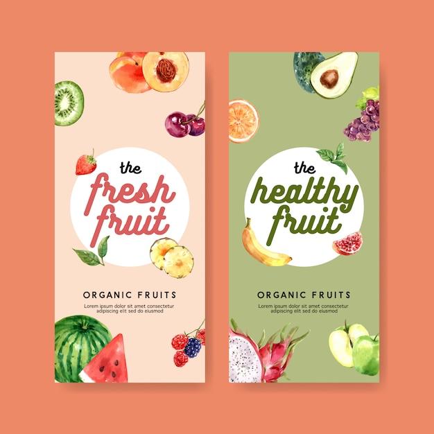 Volantino a tema frutta in colori pastello, anguria e kiwi per varie opere d'arte. Vettore gratuito