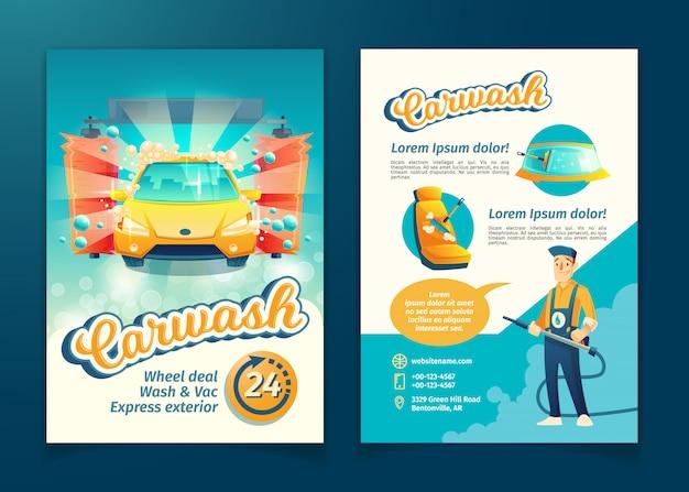 Volantino automatico per il lavaggio auto, banner pubblicitario di servizio con personaggio dei cartoni animati. Vettore gratuito