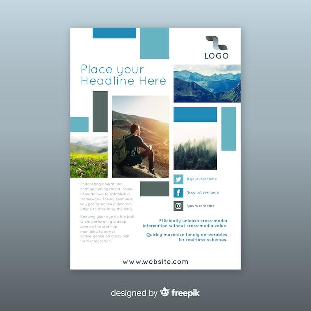 Volantino aziendale con immagini a mosaico Vettore gratuito