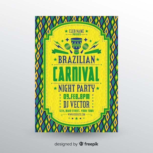Volantino brasiliano festa di carnevale Vettore gratuito