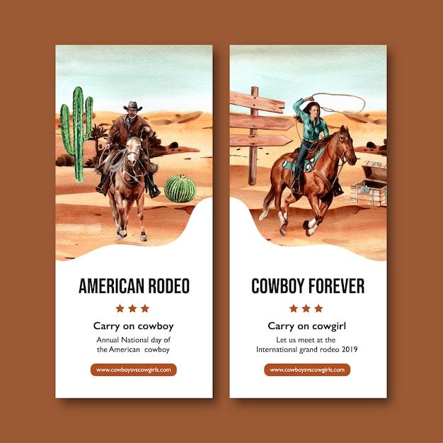 Volantino da cowboy con cavallo, persona, cactus, petto Vettore gratuito