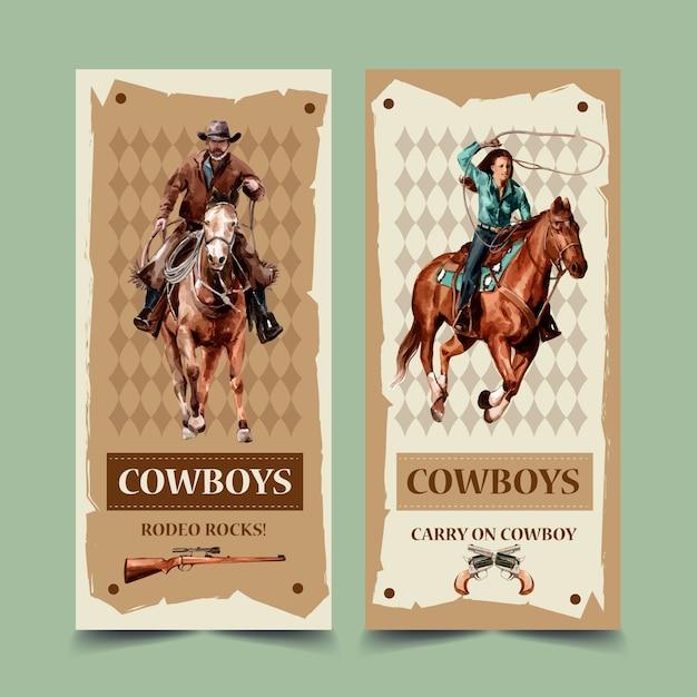 Volantino da cowboy con cavallo, pistola Vettore gratuito
