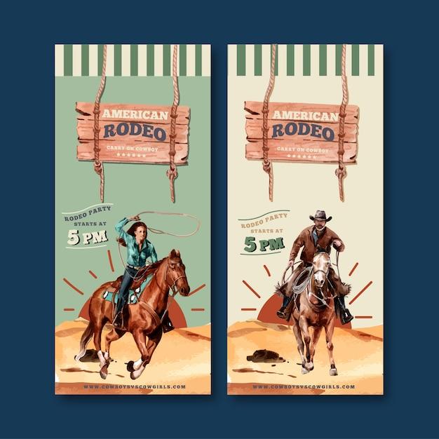 Volantino da cowboy con cavallo, uomo, corda Vettore gratuito