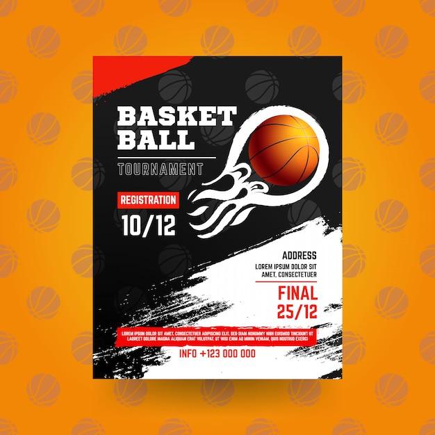 Volantino di basket con stile grunge Vettore gratuito