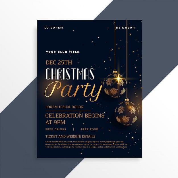 Volantino di lusso festa di Natale scuro in tema d'oro Vettore gratuito