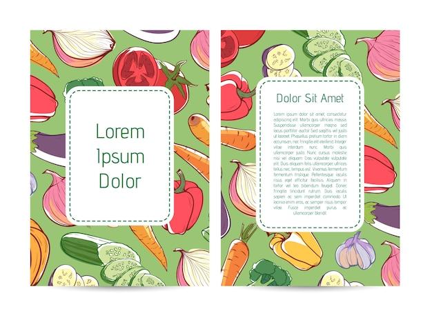 Volantino di pubblicità di prodotti agricoli eco con verdure Vettore Premium
