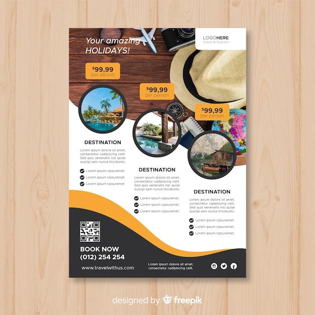 Volantino di viaggio fotografico Vettore gratuito