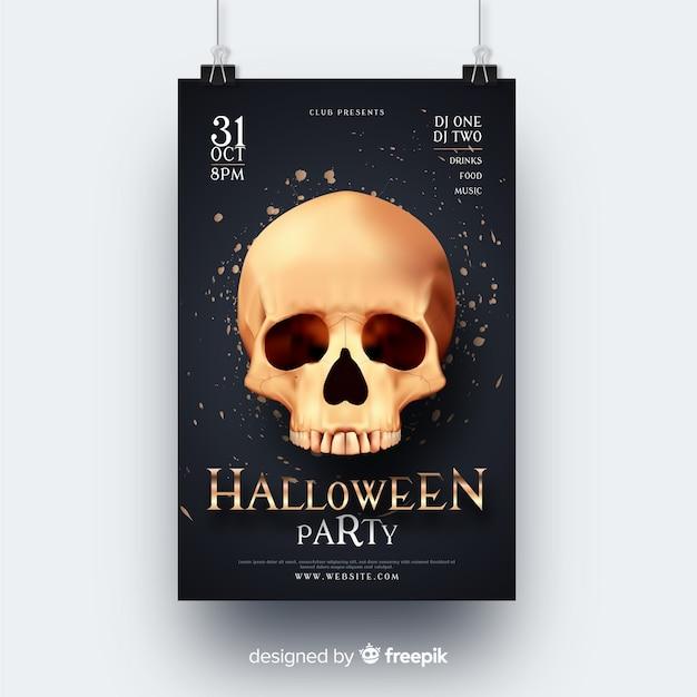 Volantino festa di halloween teschio realistico Vettore gratuito