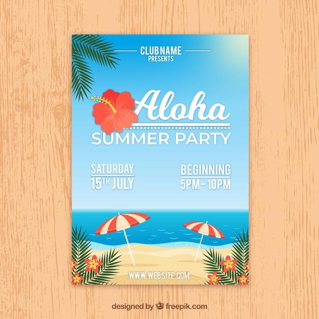 Volantino festa estiva con vista sulla spiaggia Vettore gratuito