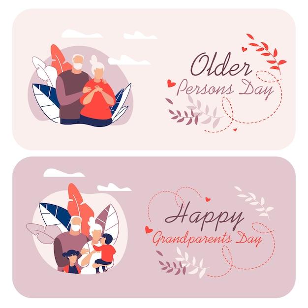 Volantino informativo scritto felice nonni dei cartoni animati. Vettore Premium