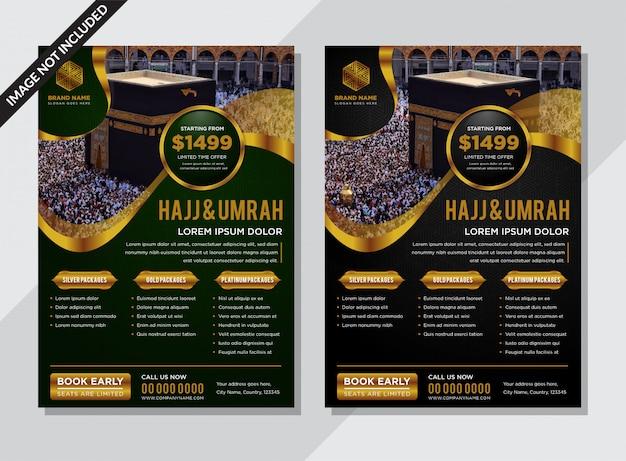 Volantino moderno islamico nero e verde con decori in oro Vettore Premium