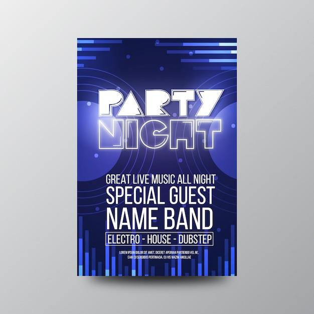 Volantino notturno retro party Vettore Premium