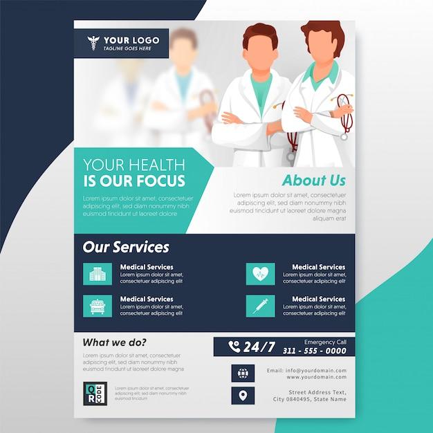 Volantino o modello di assistenza sanitaria con doctor character e servizio offerto. Vettore Premium