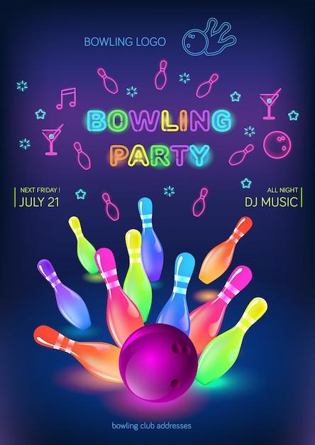 Volantino per la festa di bowling Vettore Premium