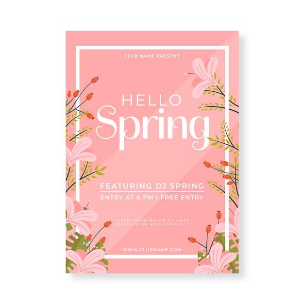 Volantino piatto per modello di festa di primavera Vettore gratuito
