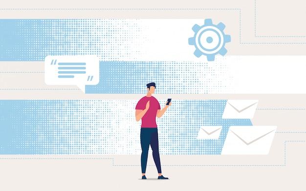 Volantino pubblicitario che riceve corrispondenza online. Vettore gratuito